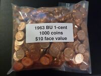 1963 1000 BU COINS WITH ROYAL CANADIAN MINT BAG INNER BAG AND LEAD SEAL