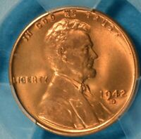 1942-D LINCOLN WHEAT CENT PCGS MINT STATE 67RD- EXCEPTIONAL BRIGHT RED GEM