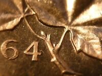 1964 BU CANADA CENT EXTRA SPINE STRONG CAMEO  FROM MINT BAG