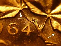 1964 BU CANADA CENT EXTRA SPINE STRONG DIE CLASHES HEAVY CAMEO  FROM MINT BAG