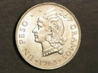 DOMINICAN REPUBLIC 1963 1 PESO CENTENNIAL SILVER CROWN BU