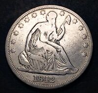 1842 SEATED LIBERTY HALF DOLLAR 50C MED DATE MPD 8/8 WB 106