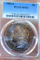 MORGAN SILVER DOLLAR 1882 S PCGS MINT STATE 63 MONSTER TONED WOW COIN