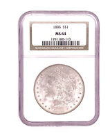 1886-P MORGAN SILVER DOLLAR NGC MINT STATE 64