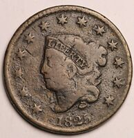 GENUINE FUR TRADE ERA US 1825 LARGE CENT BIG PENNY COIN