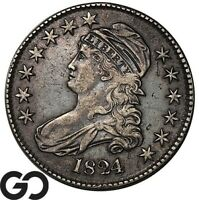 1824 CAPPED BUST HALF DOLLAR EARLY SILVER COLLECTOR 50C