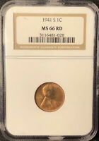 1941 S NGC MINT STATE 66 RD LINCOLN CENT OLD HOLDER