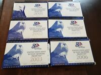 COLLECTION OF 6 US MINT STATE QUARTER PROOF SETS  2001 2006