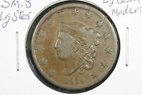 1834 CORONET HEAD LARGE CENT, SMALL 8, LARGE STARS, VF
