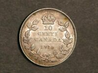 CANADA 1916 10 CENTS SILVER XF