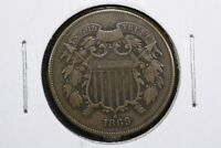1869 TWO CENT PIECE, VF