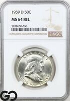 1959 D MS64 FRANKLIN HALF DOLLAR FULL BELL LINES NGC MINT ST
