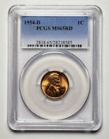 1954 D UNITED STATES LINCOLN WHEAT 1 CENT COIN PCGS MINT STATE 65 RED