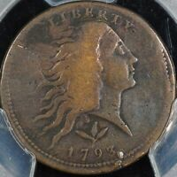 1793 FLOWING HAIR LARGE CENT WREATH PCGS GENUINE VF DETAILS
