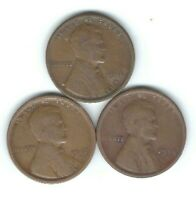 1916-S, 1917-S & 1918-S LINCOLN PENNIES IN GOOD- PANDEMIC SURVIVORS