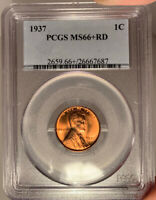 1937 1C PCGS MINT STATE 66 RD LINCOLN WHEAT CENT - RED