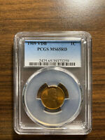1909-P VDB LINCOLN WHEAT CENT CENT 1C PCGS MINT STATE 65 RED RD TYPE 1, WHEAT REVERSE