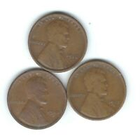 1916-S, 1917-S & 1918-S LINCOLN PENNIES IN VG- PANDEMIC SURVIVORS