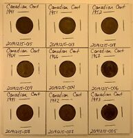 CANADIAN CENTS 9 COIN LOT BETWEEN 1941 AND 1973  LOT 20200524 002
