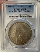 1887 O MORGAN DOLLAR PCGS MINT STATE 61 VAM 22A TOP 100 US COIN LOT 235