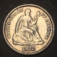 1872 S SEATED LIBERTY SILVER HALF DIME 5C BETTER DATE S ABOV