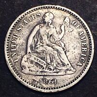1861 SEATED LIBERTY HALF DIME RARE DDO 5C STRONG DOUBLING CI