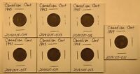 CANADIAN CENTS 7 COIN LOT BETWEEN 1940 AND 1949  LOT 20200524 001