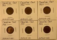 CANADIAN CENTS  6 COIN LOT BETWEEN 1951 AND 1972  LOT 20200524 003
