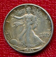 1943-D WALKING LIBERTY SILVER HALF DOLLAR  ABOUT UNCIRCULATED FREE SHIP