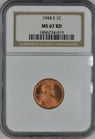 1944-S LINCOLN WHEAT CENT 1C NGC MINT STATE 67 RD