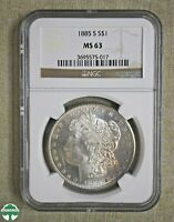 1885-S MORGAN DOLLAR - NGC CERTIFIED - MINT STATE 63