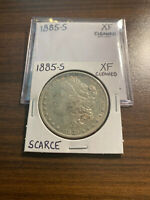 1885-S MORGAN SILVER DOLLAR $1 EXTRA FINE EXTRA FINE  CLEANED