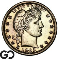 1892 BARBER QUARTER PROOF FIRST YEAR PR ISSUE A MERE 1245 PF STRUCK