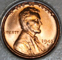 1945-D WHEAT CENT UNCIRCULATED CHOICE RED [SN63]
