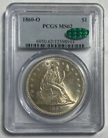 1860 O SEATED LIBERTY $1 PCGS MS62 CAC STICKER