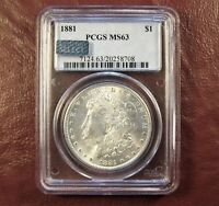 1881 MORGAN DOLLAR MINT STATE 63 PCGS  BETTER DATE - WHITE FLASHY FROSTY  SHIP FREE