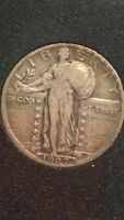 1927 STANDING LIBERTY QUARTER  VF DETAIL  25C SILVER  TRUSTED FEEDBACK 100