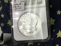 1886 MORGAN SILVER DOLLAR NGC MS63 STRUCK THRU MINT WIRE ERR