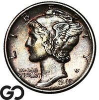 1942/1 MERCURY DIME TOUGH THIS NICE AVIDLY PURSUED KEY DATE