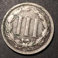 1868 3 CENT NICKEL 3C  DETAILS COLLECTIBLE FILLER TYPE COIN WITH CORROSION