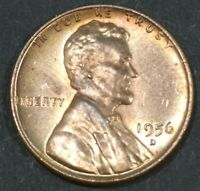 1956-D LINCOLN CENT PENNY BU WITH SOME  TONING   B16873