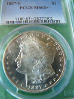 1887-S MORGAN DOLLAR PCGS MINT STATE 63 CHOICE