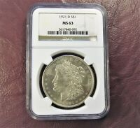 1921 D MORGAN DOLLAR MINT STATE 63 NGC  LAST YEAR ONLY D MM - GOLDEN TONE  SHIP FREE
