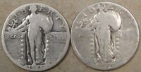1928-D  1929-D STANDING LIBERTY QUARTERS 25C LOWER GRADE AS PICTURED