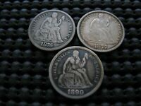 1876-CC 1877-P 1890-P SEATED DIME VARIETY COINS