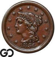 1854 LARGE CENT BRAIDED HAIR EARLY COLLECTOR COPPER