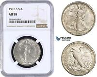 AA276-R UNITED STATES, WALKING LIBERTY HALF DOLLAR 50C 1918-S, SILVER NGC AU58