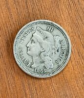 HIGH GRADE 1865 THREE CENT NICKEL. FIRST YEAR. NO RESERVE UNITED STATES COIN