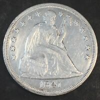 1847 SEATED DOLLAR - SHARP DETAILS - HIGH QUALITY SCANS H257