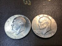 LOT OF 2 COINS - 1976-P & 1976-D EISENHOWER 'IKE' DOLLARS TYPE 2 VARIERTY